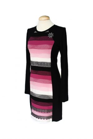 vestido ondas rosa y negro