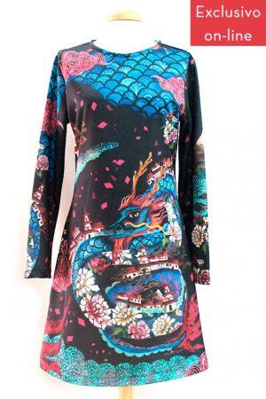 vestido evase estampado Dragon